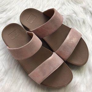 Fitflop shimmy rose gold suede pink slide sandal 8